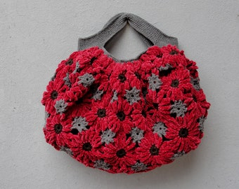 Red Chrysanthemums Bag, Crocheted Chenille Puffy Happy Sunny Bag