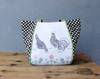 Chicken Farm Bag - Shabby Chic - Vintage Embroidery, Vintage handstamped Fabric and Leather Straps