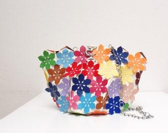 Kaleidoscope Vegan Leather Bag - Multicolored flower purse