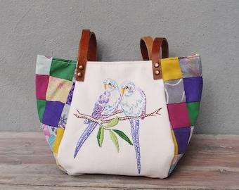 Woodland Parakeet Bird Bag - Vintage Embroidery, Purple Patchwork and Leather Bag.