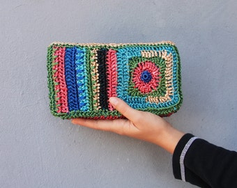 Bohemian Rafia Clutch Purse Wallet Corcheted Rafia Colorful Stripes