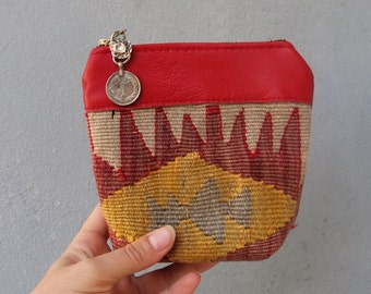 Leather Kilim Wallet Coin Purse Wallet Vintage Hand woven kilim Red Leather