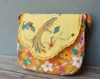 Embroidered Bird Messenger Laptop Macbook Bag Sleeve with Vintage Embroidery and Crocheted Leaves and Flowers