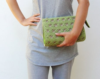 Apple Green Knitted Leather Clutch Purse Bag