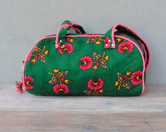 Bohemian Floral Bag, Green and Pink Traditional Folklore Bag with Needle Lace
