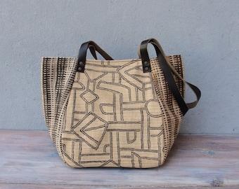 Meetkunde Bag - katoen en leer strepen en symbolen