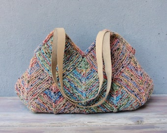 Knitted Pastel Geometric Bag with Leather Straps, Blue, Green, Pink shades