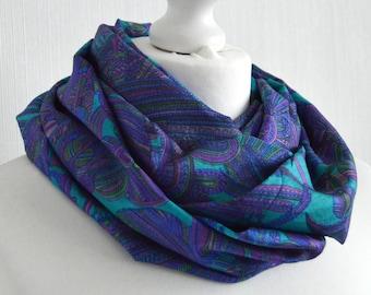 b875ceea9 Turquoise Purple Sari Silk Infinity Scarf - Handmade Lightweight Bohemian  Womens Scarves - Spring summer Fall Gift for Her - Boho Chic