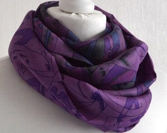 50ef784f934cd7 Lavender Purple Silk szalik-wieczność szalik-Silk Infinity szalik-wytworzony  w Sari szalik-Sari Silk szalik-damski szalik-CMCISP0535