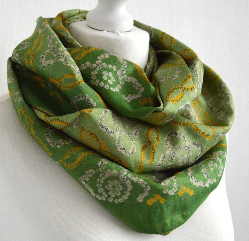 cfe658c42 Tie Dye Scarf Green Yellow Silk Scarf Boho Scarf Sari | Etsy