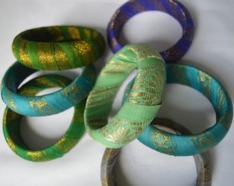 Sari Silk Wrapped Bangle Bracelet, Recycled, Wooden Bangle, Emerald, Turquoise, Mint Green, Purple or Grey Sari Silk