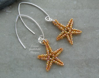 Amber starfish earrings, sterling silver, gold starfish, underwater earrings, iridescent amber, star fish earrings, under the sea,