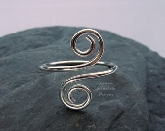 Sterling silver swirl ring, adjustable ring, silver thumb ring, silver ring, spiral ring, MADE TO ORDER, hand forged ring, all sizes, wrap