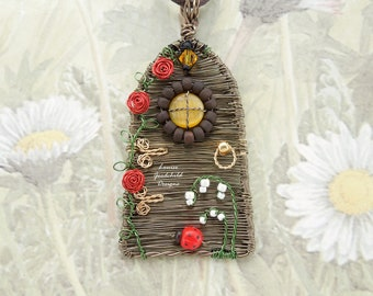 OOAK wire wrapped fairy door necklace with roses and ladybird