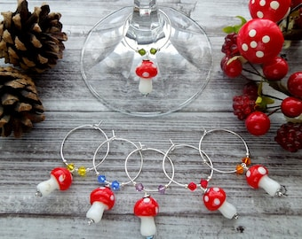 Toadstool wine charms, mushroom wine glass charms, wine lover gift, stocking filler, cracker gift, home decor, glass charms,table decor