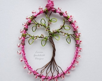 Sakura necklace, cherry blossom tree, wire tree pendant, MADE TO ORDER, cherry blossoms, tree of life, nature jewelry, pink, sakura jewelry