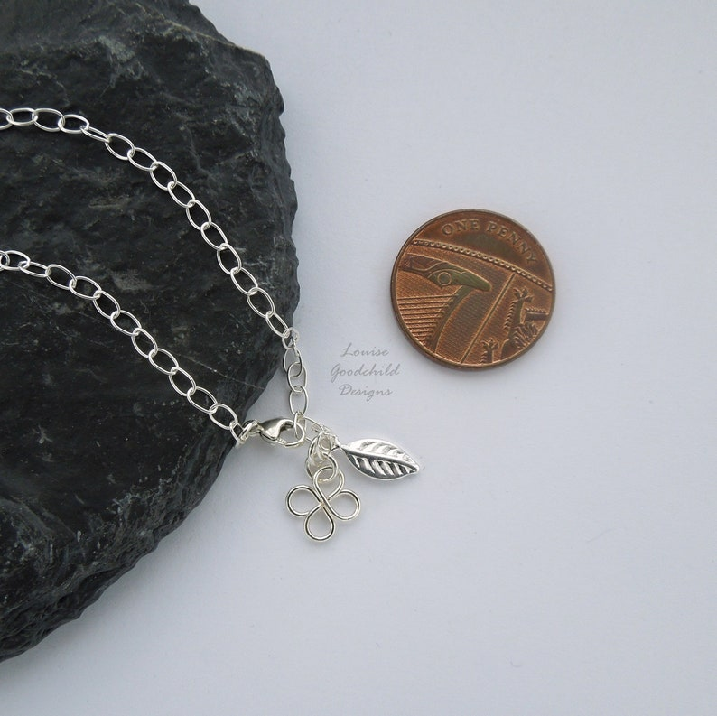 clover anklet summer jewelry silver leaf ankle bracelet Sterling silver ankle chain lucky four leaf clover gift for her delicate