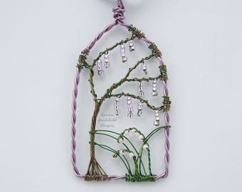 Wisteria, wire wrapped, flower necklace, wisteria pendant, mothers day, purple flower, gift for her, flower arch, anniversary, purple