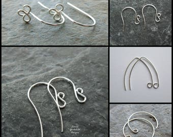 Handmade ear wires, sterling silver, sample pack, mixed, MADE TO ORDER, 5 pairs, silver ear wires, handmade findings, make your own, wires