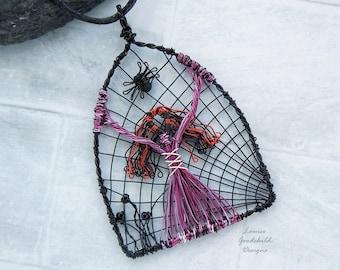 Gothic wire pendant, Halloween pendant, cobweb pendant, goddess pendant, Samhain pendant, wire wrapped, spider pendant, goth woman, purple