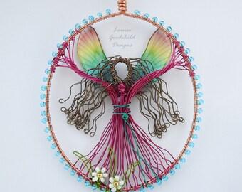 Rainbow Fairy suncatcher, fairy sun catcher, wire fairy, rainbow ornament, fairy decoration, rainbow suncatcher, ooak decor, hanging fairy