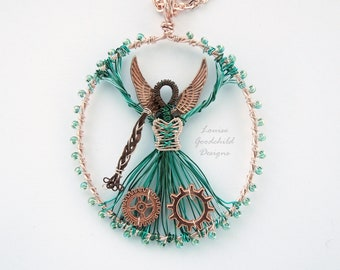 Steampunk pendant, rose gold pendant, fairy pendant, steampunk fairy, teal pendant, angel pendant, steampunk necklace, goth, rose gold