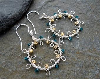 Silver wreath earrings, Christmas wreath earrings, silver and gold, teal earrings, leafy earrings, beaded wreath earrings, wire wrapped