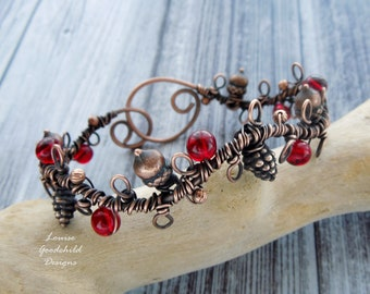 Woodland bangle, wire wrapped antique copper bangle, red berries, copper cuff, copper bracelet, copper wire bangle, acorns, fir cones,leaves