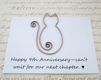 Copper cat bookmark, 9th anniversary gift, copper anniversary, solid copper wire bookmark, cat lover, book clip, paperclip, book lover