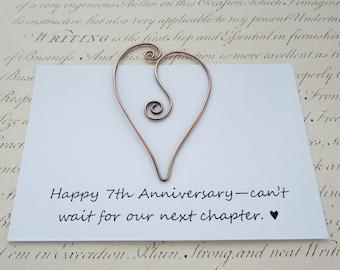 Copper wire heart bookmark, 7th anniversary gift, MADE TO ORDER, solid copper, copper anniversary, book clip, paperclip, book lover, love