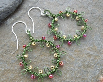 Green red and gold wreath earrings, Christmas wreath earrings, earrings, leafy earrings, beaded wreath earrings,wire wrapped,sterling silver