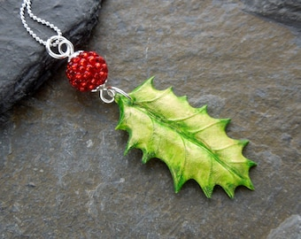 Holly pendant, green holly leaf pendant, holly berry, red berry pendant, sterling  silver, Christmas necklace,festive pendant,autumn pendant