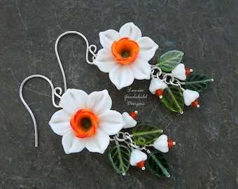 Narcissus earrings, spring flowers, daffodils, sterling silver, white flower, daffodil earrings, Mother's Day, spring jewelry, white flower