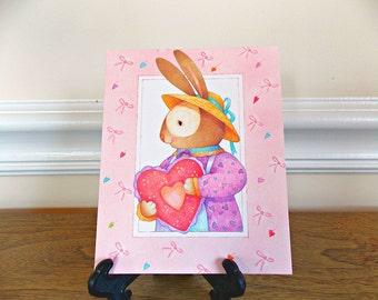 Bunny valentine card etsy valentines day card vintage valentine card vintage card valentines rabbit bunny current inc greeting card paper ephemera m4hsunfo