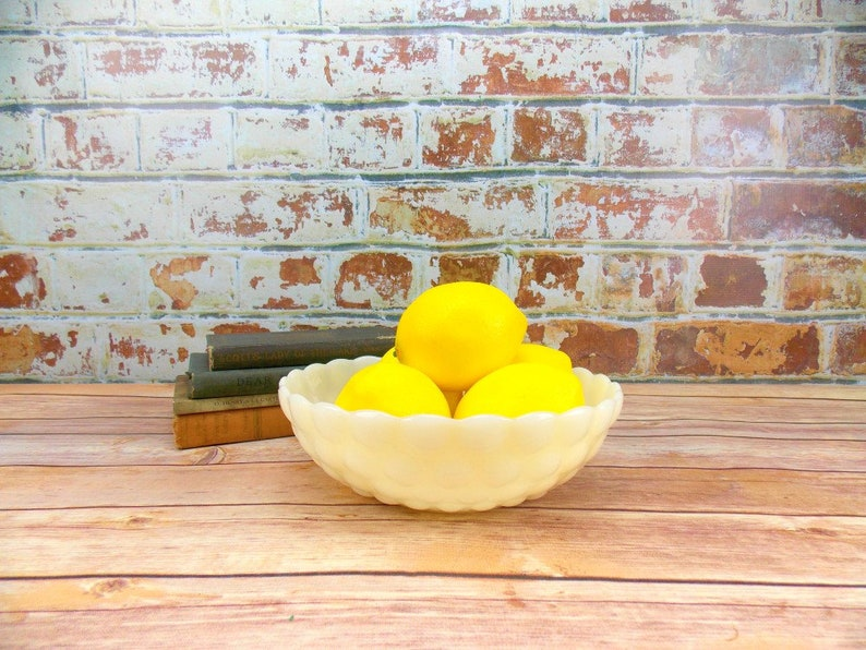 Bubble Design Home Decor Kitchen Decor Bowl White Glass Serving Bowl Vintage Milk Glass Bowl Decorative Bowl Anchor Hocking
