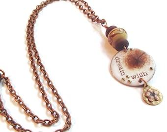 Dream Necklace Wish Necklace Positive Energy Necklace Encouragement Necklace Wish Dream Dandelion Enamel N218