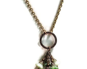 Flower Necklace. Dangling Czech Glass Flower Necklace. Antique Gold Flower Necklace. PRICE REDUCED N98