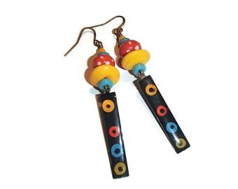 Colorfuil Lampwork and Metal Earrings Fun Boho Whimsical Artisan E82