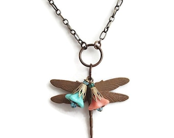 Dragonfly Pendant. Dragonfly Necklace. Dragonfly Flower Chain Necklace N105