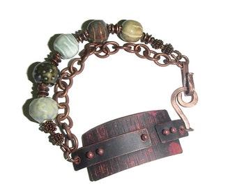 Rustic Copper Bracelet Copper and Ceramic Bead Bracelet Double Strand Copper Chain and Ceramic Bracelet BOHO B109