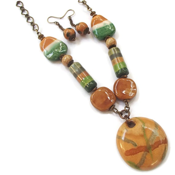 Kazuri Bead Set Necklace and Earrings Ethnic Statement Jewelry Fair Trade Beads Kenya African Beads S96