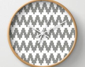 Gray Zigzag Wall Clock 10 inch Diameter