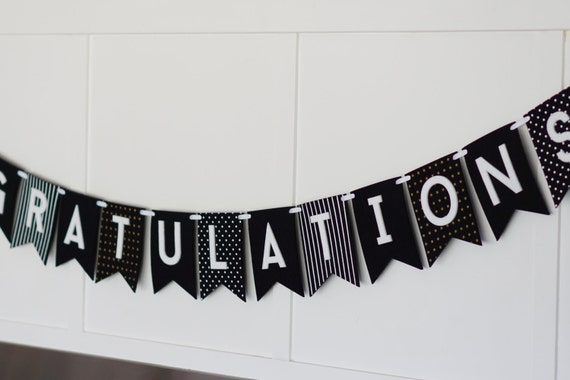 Congratulations Black White Gold Banner Etsy