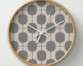 Neutral Moroccan Wall Clock 10 inch Diameter