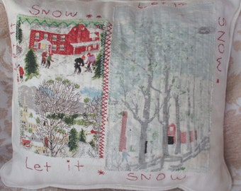 Let it Snow Accent Pillow Cover/ White/Red/Green/Rustic Cabin Decor/Farm and town /Handmade and 1 of a kind, from vintage &reclaimed fabrics
