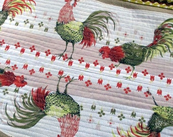 Chicken table runner from reused fabrics.  Harvest colors/quilted and trimmed in brownr rick rack/yellow check. Handmade in NC.  1 of a kind