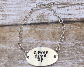 Personalized Hand Stamped Oval Inspirational Chain Bracelet - Never Give Up/Be Joyful