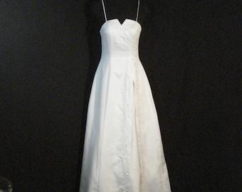 Biała Satynowa Rocznika 1940 Suknia ślubna Z Pociągiem Xs Etsy