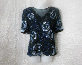 2beef6f6f4bfd1 Blue Silk Beaded Blouse Top Adrianna Papell Vintage OPULENT Party Sequin  Trophy Top ML