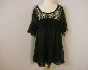 Black Blouse Tunic Top Crochet Lace & Chiffon Boho Chic Babydoll ML